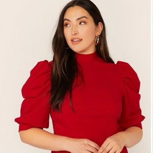 Tops - Beautiful Red Puff Sleeve Blouse